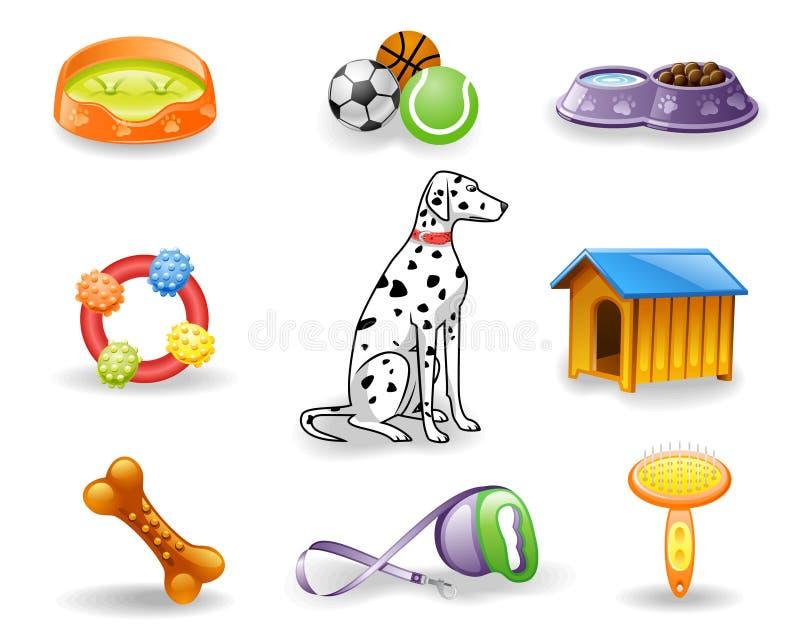 комплект иконы собаки внимательности иллюстрация вектора