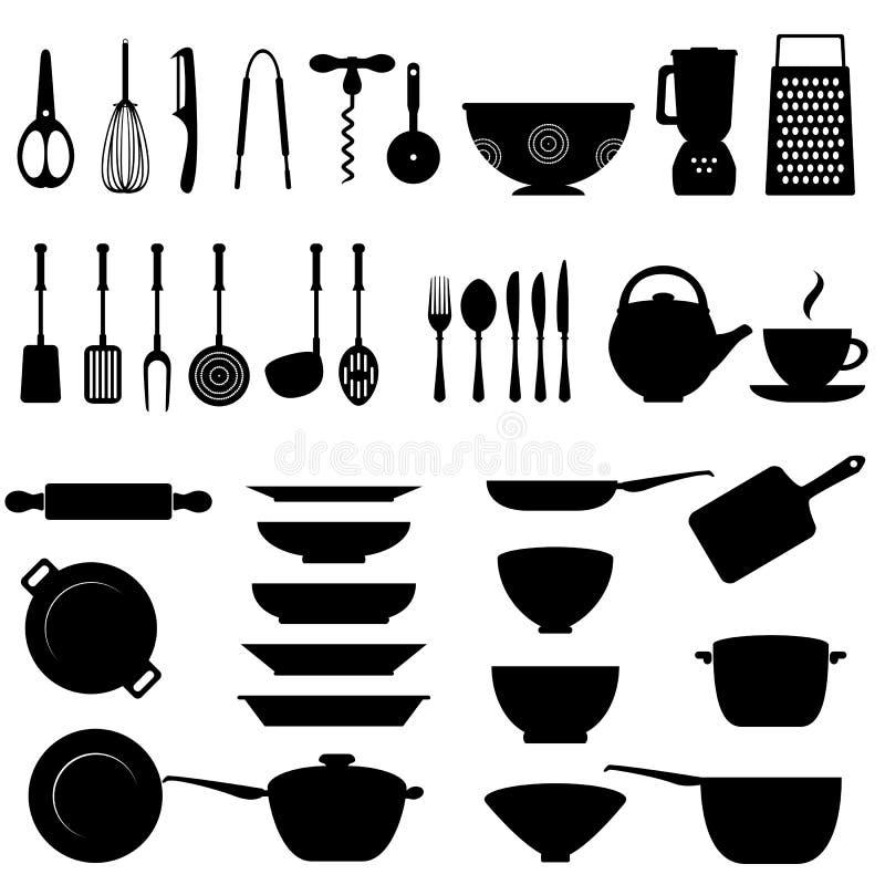 Комплект иконы утвари кухни иллюстрация вектора