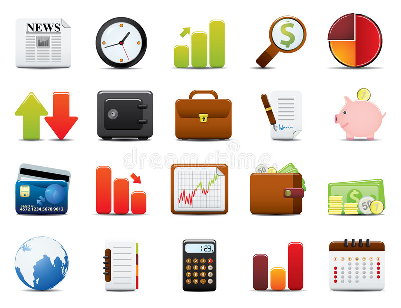 комплект иконы финансов иллюстрация вектора