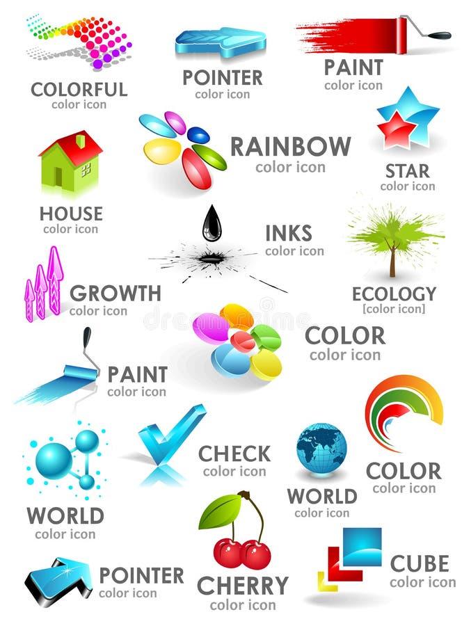 Комплект иконы цвета конструкции 3d. Элементы конструкции иллюстрация штока