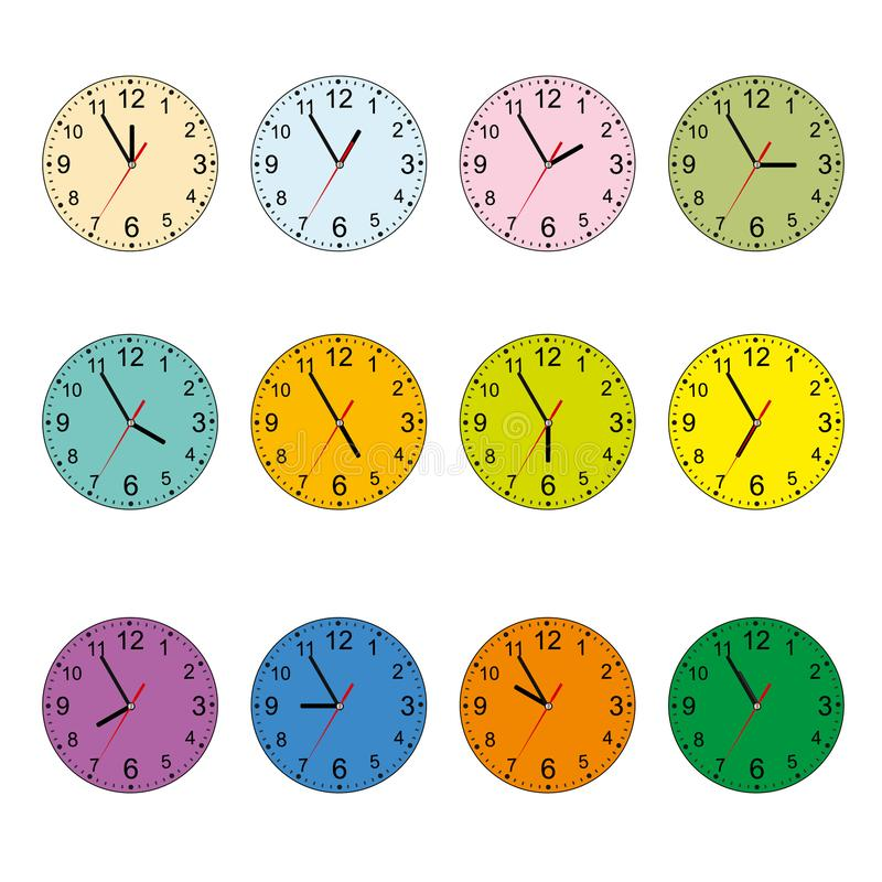 Комплект иконы часов Классические круглые настенные часы изолированные на белизне Пустой вахта шкалы белизна изолированная предпо иллюстрация штока