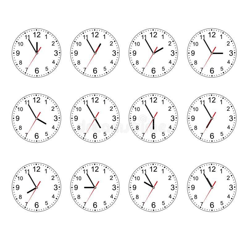 Комплект иконы часов Классические круглые настенные часы изолированные на белизне Пустой вахта шкалы белизна изолированная предпо иллюстрация вектора