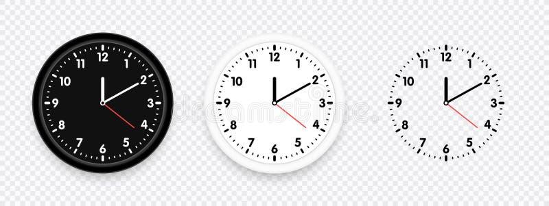 Комплект иконы часов Современные чернота вектора, белизна и часы силуэта на прозрачной предпосылке также вектор иллюстрации притя иллюстрация штока