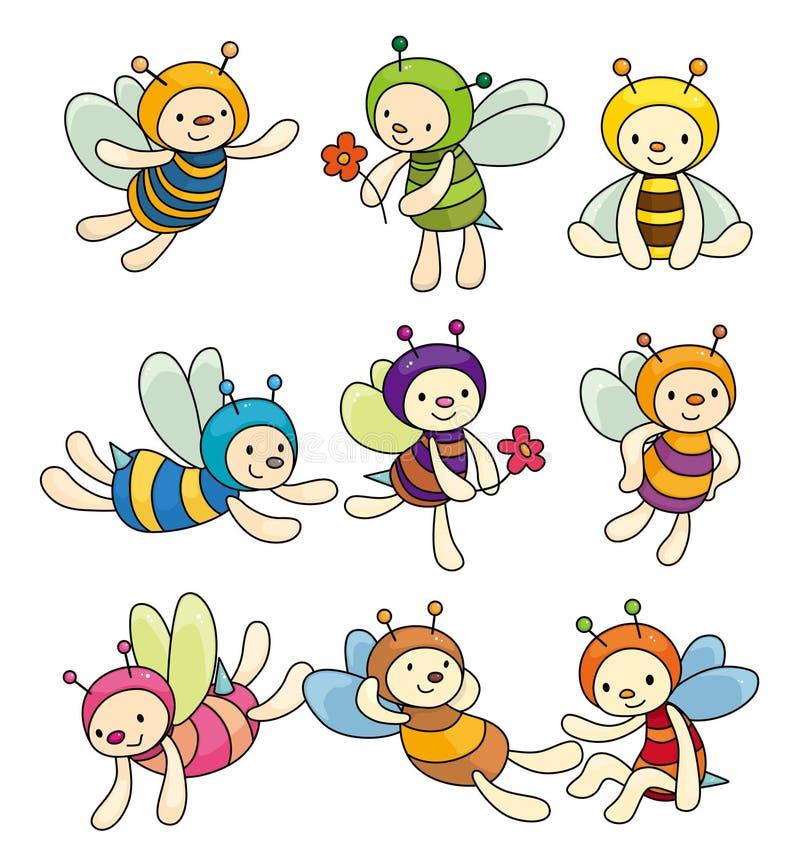 комплект иконы шаржа мальчика пчелы иллюстрация штока
