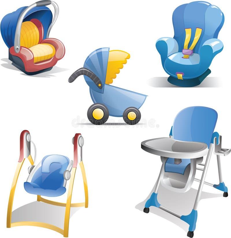 комплект иконы шестерни младенца иллюстрация вектора