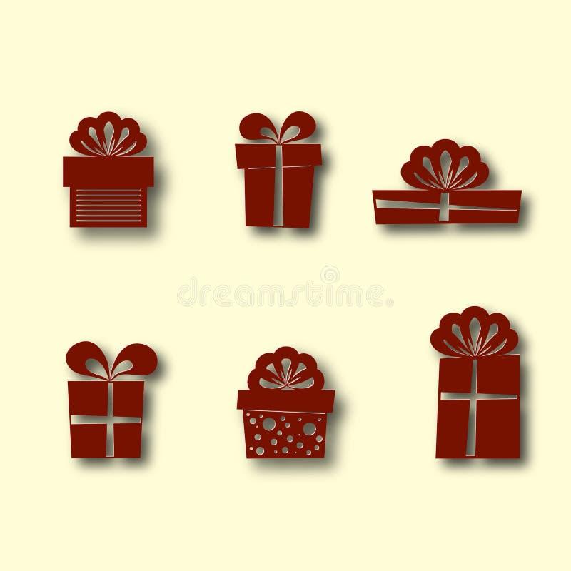 Комплект икон коробки подарка Предпосылка для темы зимы и рождества Дизайн отрезка бумаги также вектор иллюстрации притяжки corel иллюстрация вектора