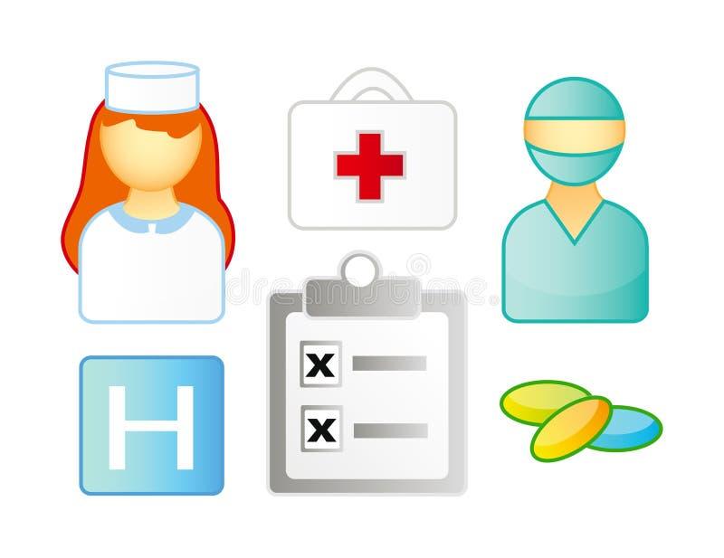 комплект икон медицинский иллюстрация вектора