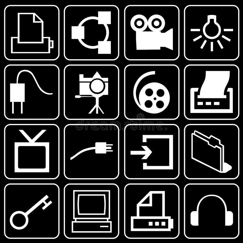 Комплект икон (оборудования, электроники) иллюстрация штока
