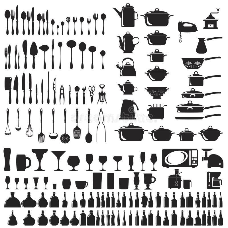 Комплект икон столового прибора бесплатная иллюстрация