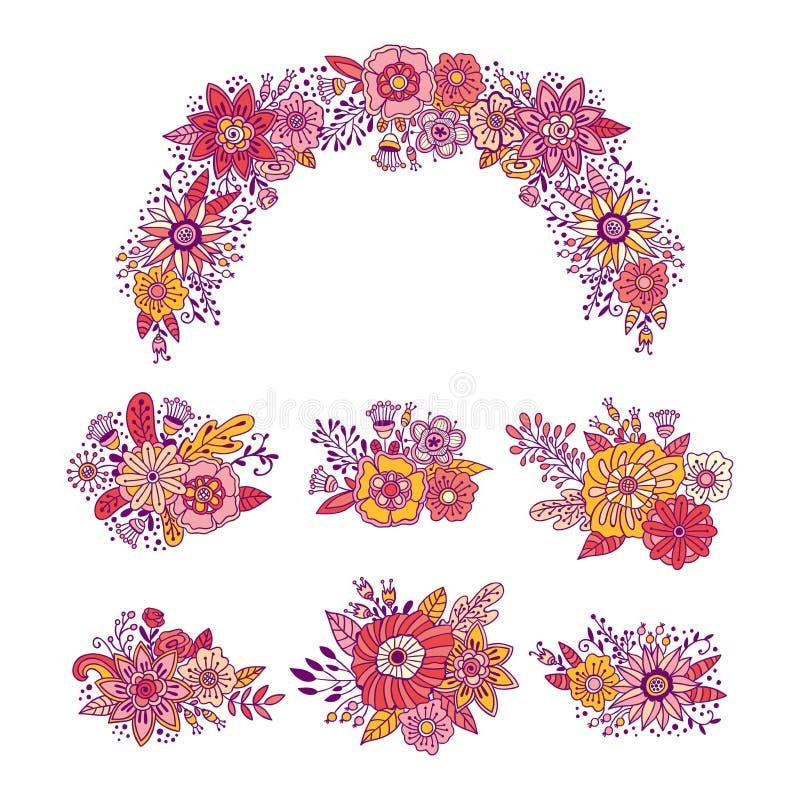 Комплект иллюстрации вектора букетов цветка Нарисованное рукой украшение венка флористического орнамента бесплатная иллюстрация