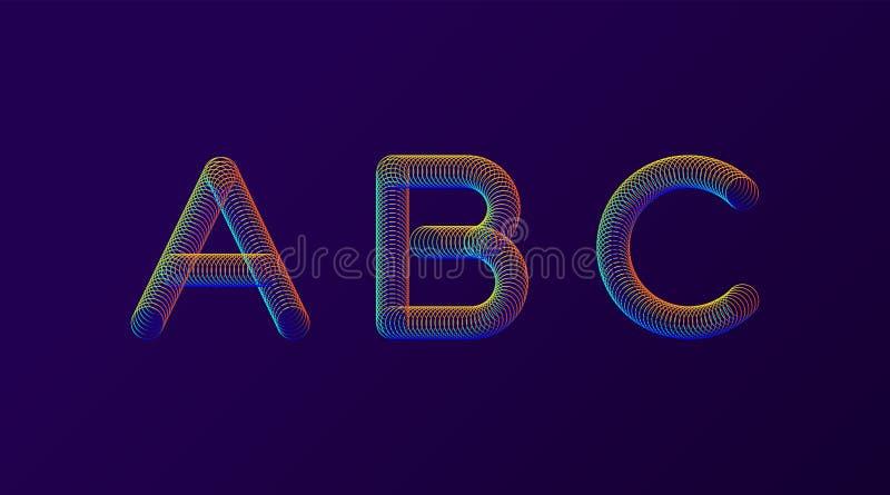 Комплект иллюстрации вектора дизайна красочных современных абстрактных писем творческой Алфавит весны радуги неоновый изолированн бесплатная иллюстрация