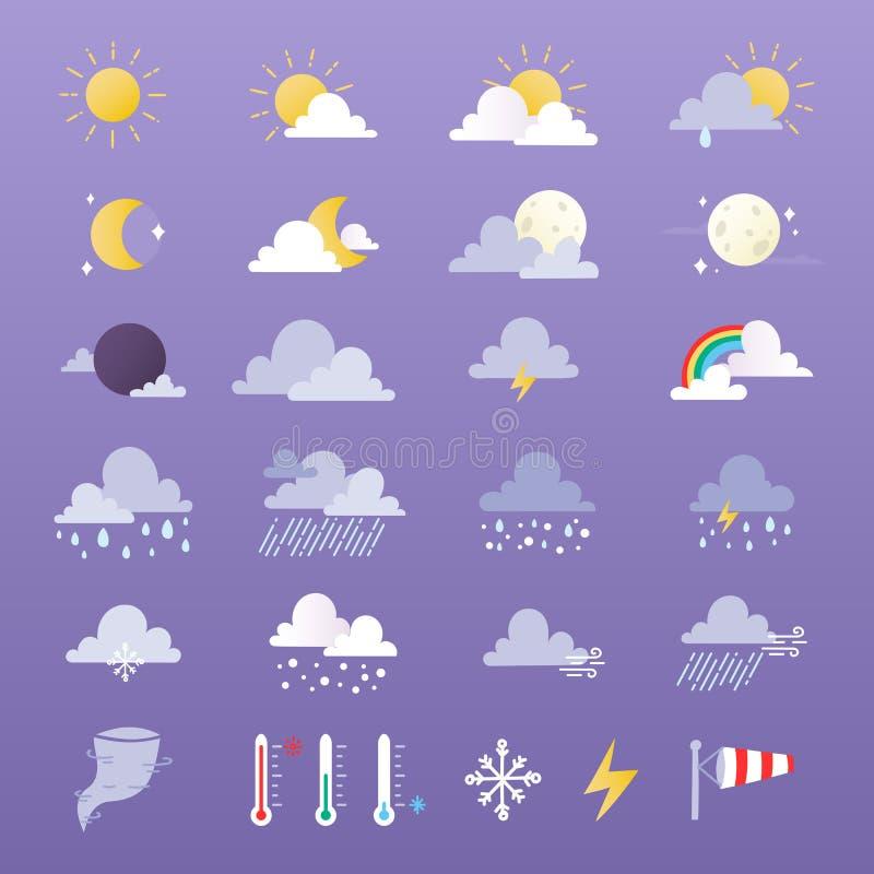 Комплект иллюстрации вектора значков погоды Солнце, облако, дождь, луна и weathercock иллюстрация вектора