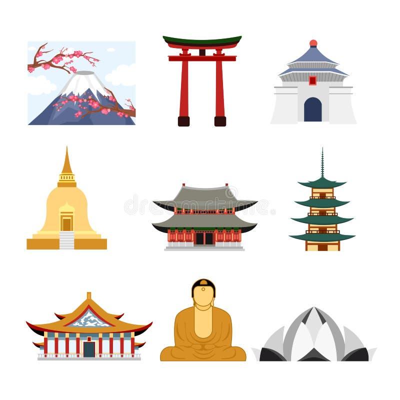 Комплект иллюстрации вектора перемещения Азии с зданиями Азии известными, вулканом и статуей Будды значками, концепцией перемещен бесплатная иллюстрация
