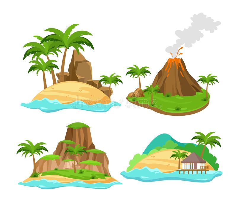 Комплект иллюстрации вектора различных сцен тропических островов с пальмами и горами, вулканом изолированным на белизне иллюстрация вектора