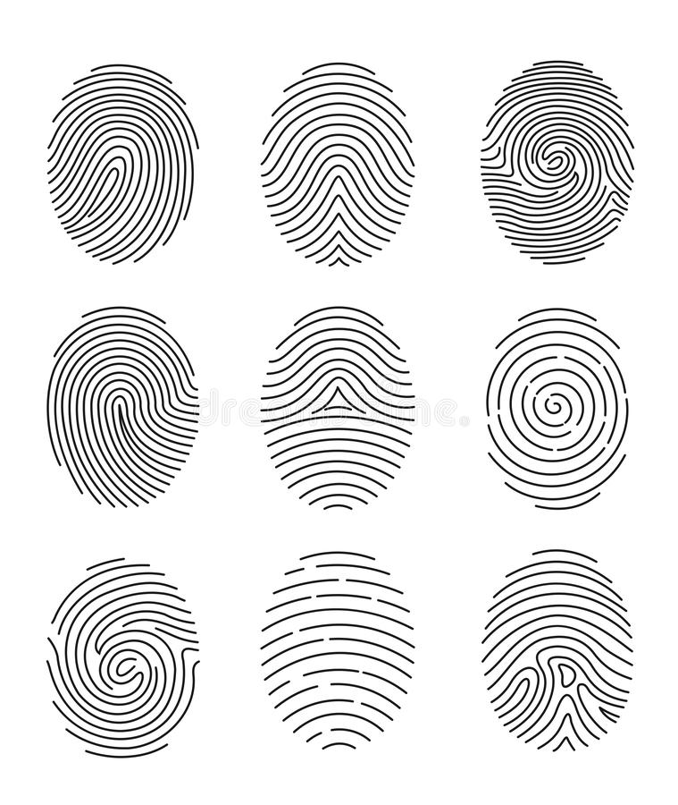 Комплект иллюстрации вектора 9 черной линии отпечаток пальцев печатает на белой предпосылке бесплатная иллюстрация