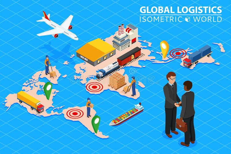 Комплект иллюстрации вектора 3d глобальной сети снабжения плоский равновеликий железнодорожных перевозок авиационного груза перев иллюстрация штока