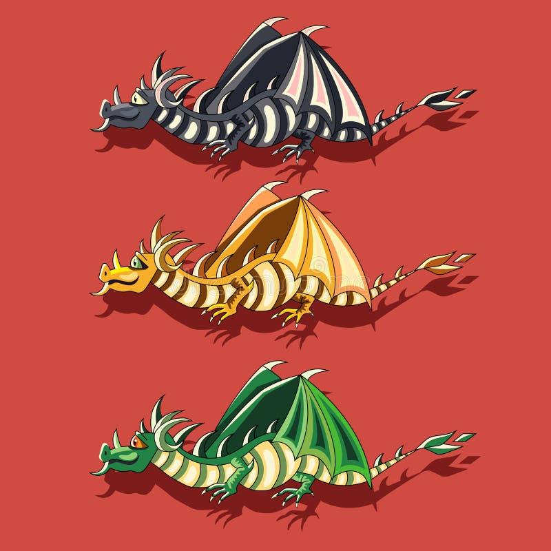 Комплект иллюстрации вектора 3 fairy драконов иллюстрация вектора