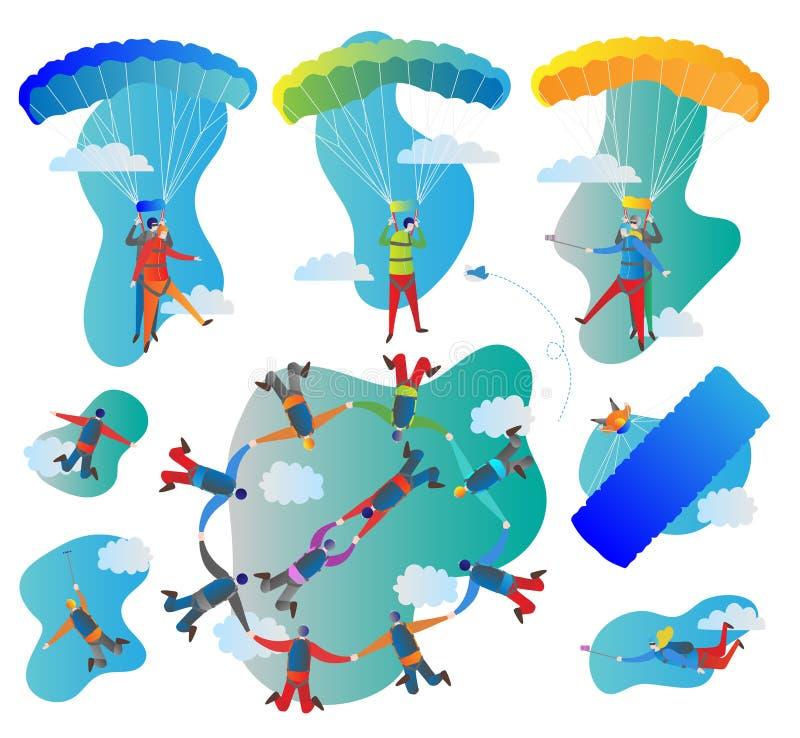 Комплект иллюстрации вектора Skydiving Собрание полетов сольных, тандема и группы Пилот с вспугнутыми пассажиром и парашютом бесплатная иллюстрация