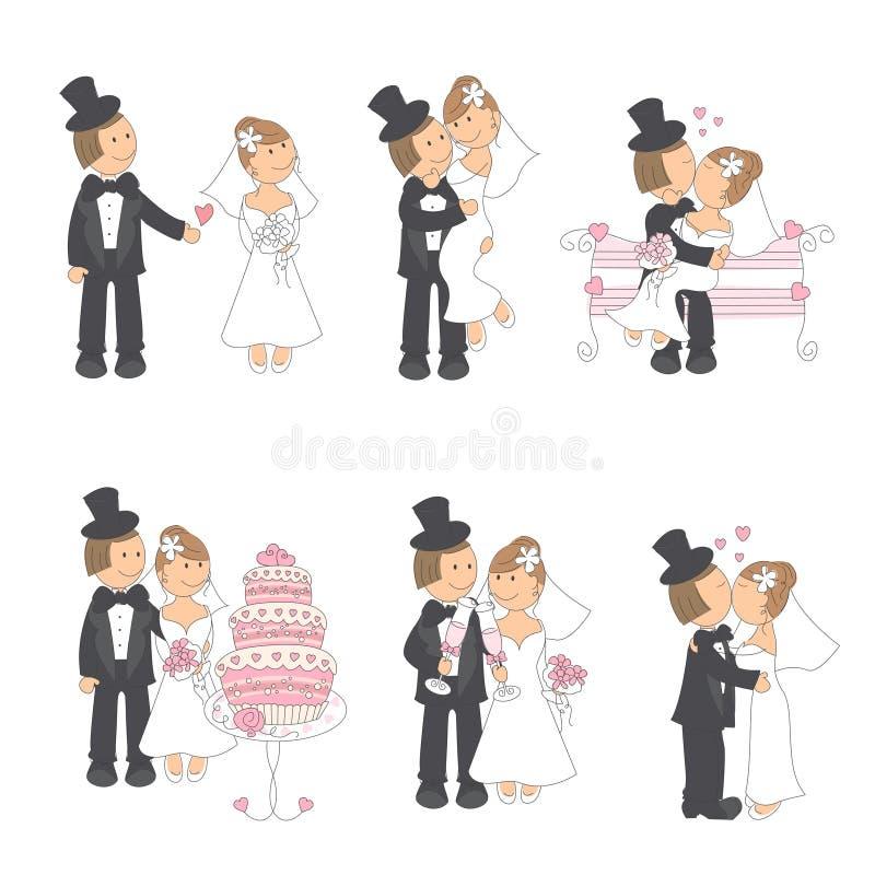 Комплект иллюстрации венчания иллюстрация штока
