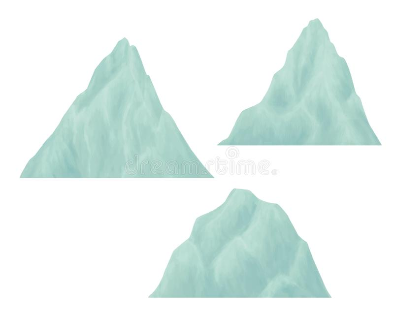 Комплект иллюстрации ландшафта горы бесплатная иллюстрация