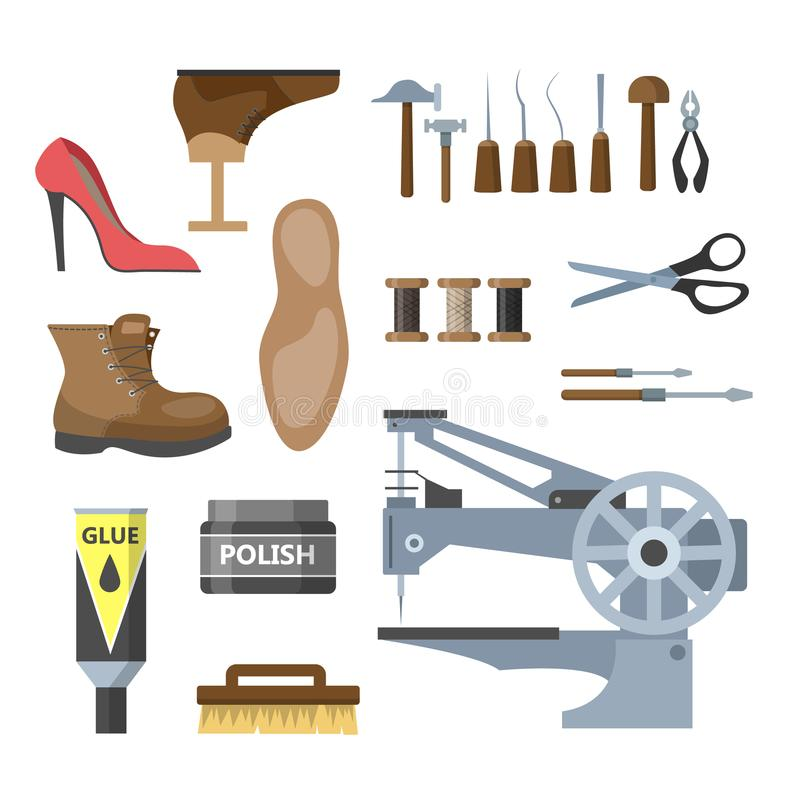 Комплект иллюстрации оборудования ремонта ботинка иллюстрация вектора