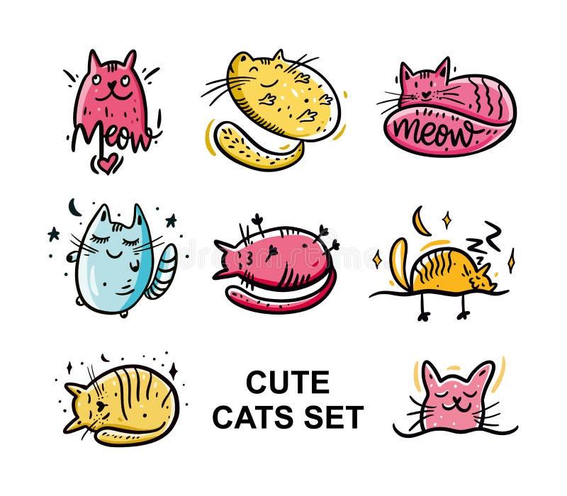 комплект иллюстрации руки котов милый нарисованный Тип шаржа Нарисованная рукой иллюстрация вектора белизна изолированная предпос иллюстрация вектора