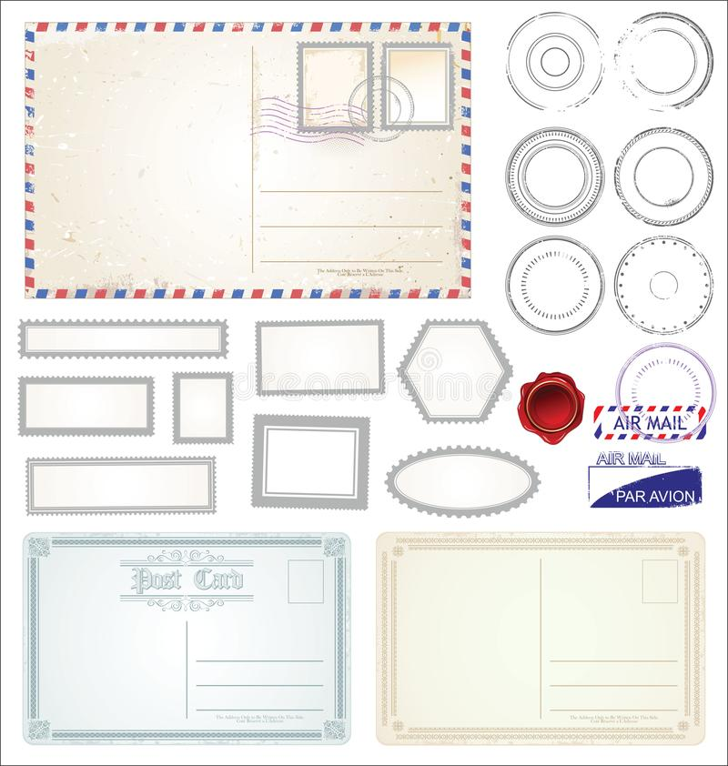 Комплект иллюстрации символов штемпеля столба иллюстрация вектора