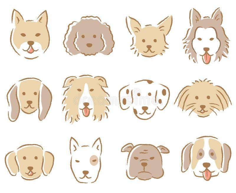 Комплект иллюстрации стороны собаки собаки нарисованные рукой различные милые бесплатная иллюстрация