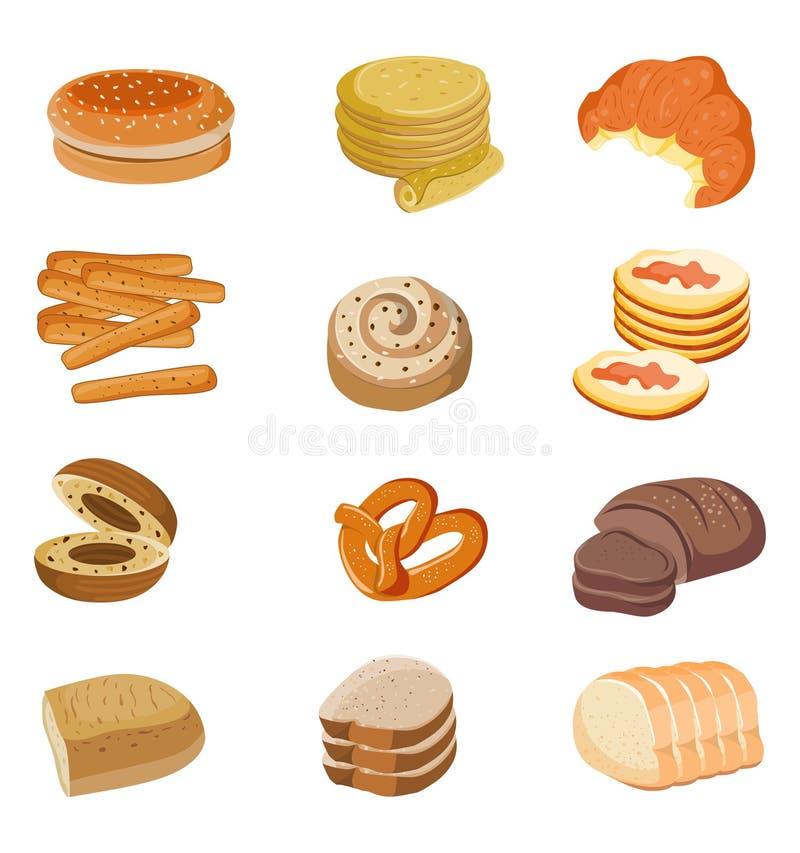 Комплект иллюстрации хлеба Иллюстрация еды вектора иллюстрация вектора