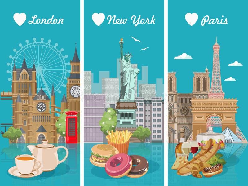 Комплект иллюстраций вектора с французом, американец, английская кухня Плакат для США, Великобритания еды, Франция Еда в Америке  иллюстрация вектора