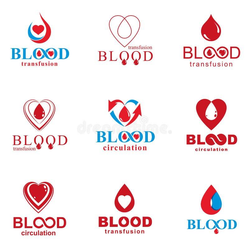 Комплект иллюстраций донорства крови вектора схематических Hematolog иллюстрация вектора