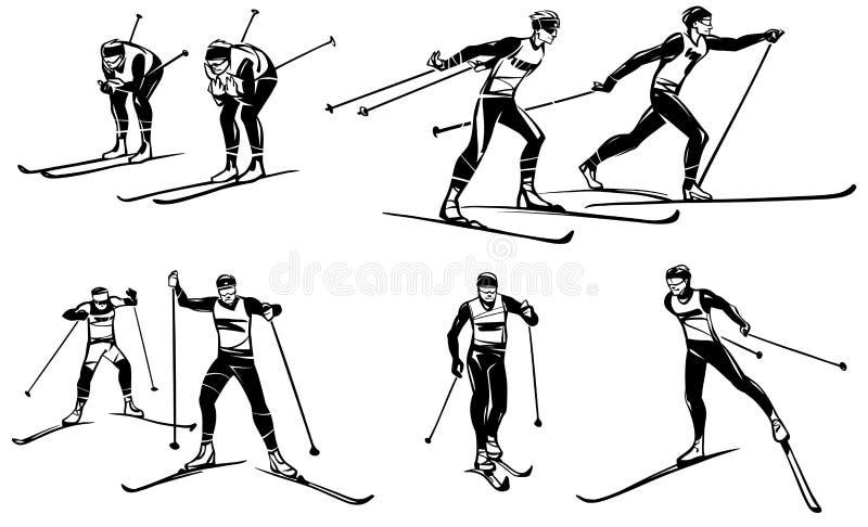 Комплект иллюстраций конкуренций на беговых лыжах иллюстрация вектора