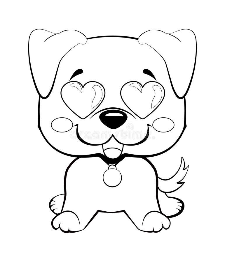 Комплект иллюстраций характера собаки в стиле шаржа вектора нарисованном рукой Как логотип, талисман, стикер, emoji, смайлик иллюстрация вектора