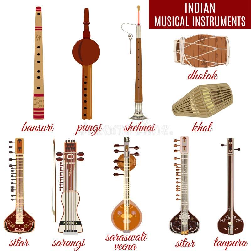 Комплект индийских музыкальных инструментов, плоский стиль вектора иллюстрация вектора