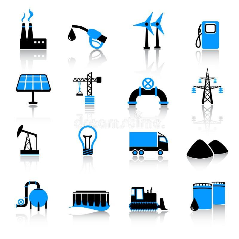 комплект индустрии иконы иллюстрация вектора