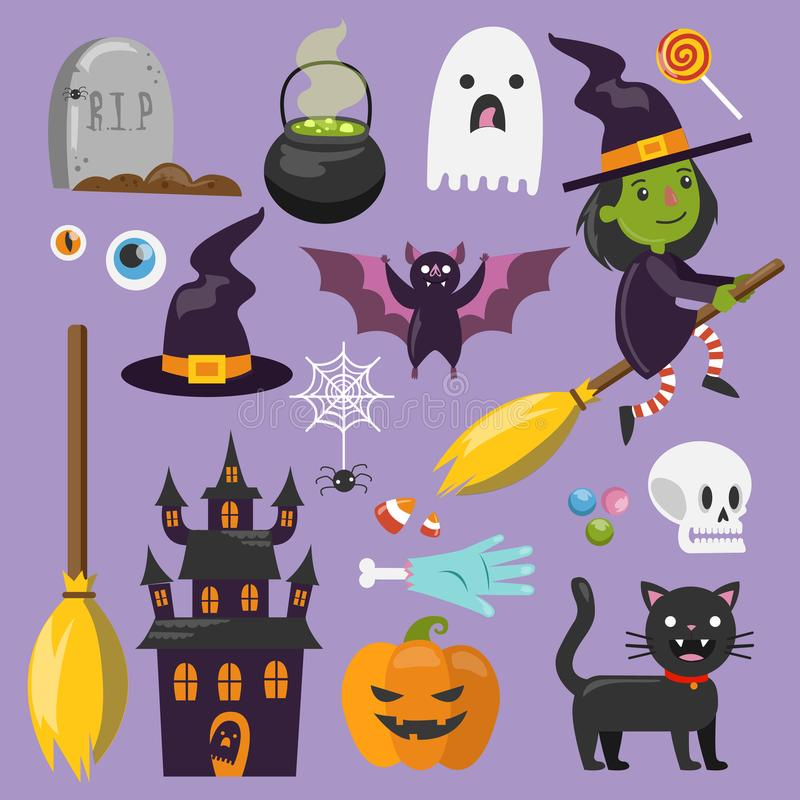 Комплект искусства хеллоуина иллюстрация вектора