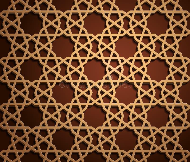 Комплект исламских восточных картин, безшовное арабское геометрическое собрание орнамента Предпосылка вектора традиционная мусуль иллюстрация штока