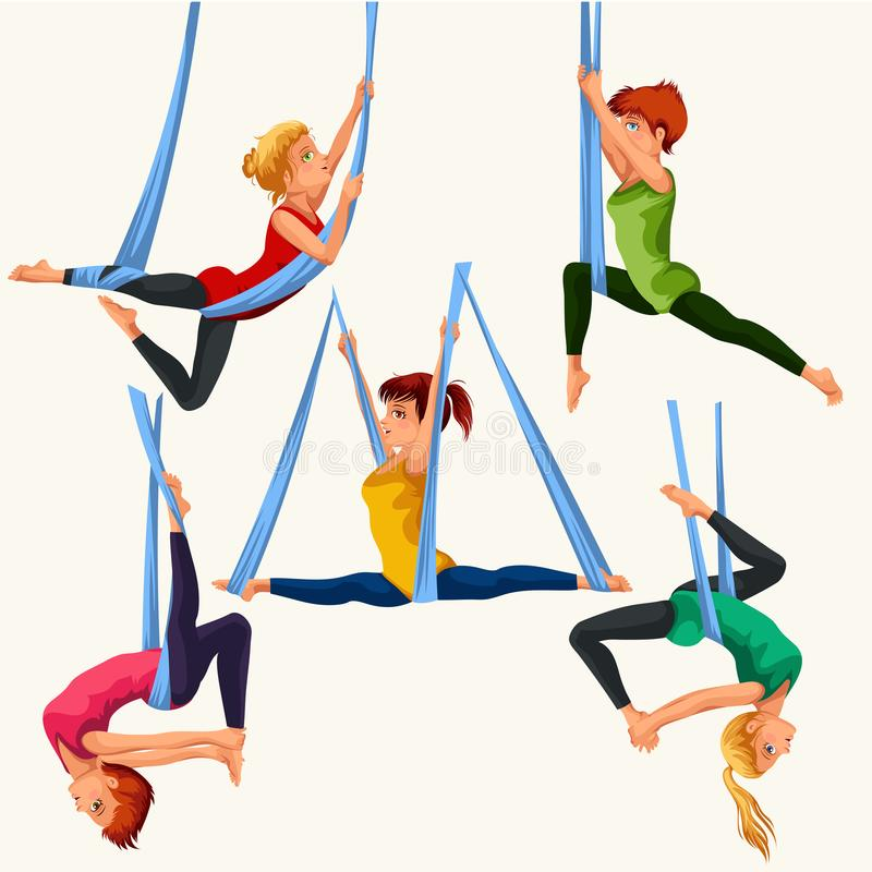 Комплект йоги мухы плоско красочный иллюстрация штока