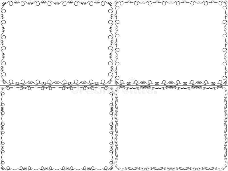 Комплект 4 кадр картин иллюстрация штока