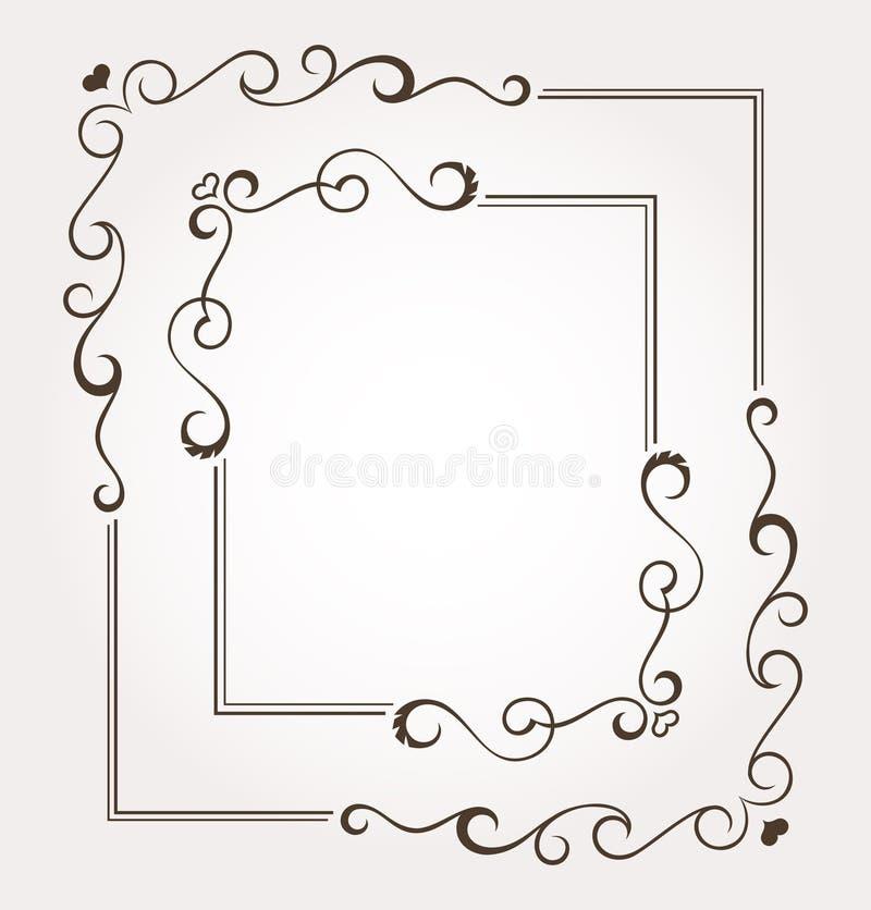 Комплект 2 каллиграфических флористических рамок дня ` s валентинки и украшений страницы иллюстрация вектора