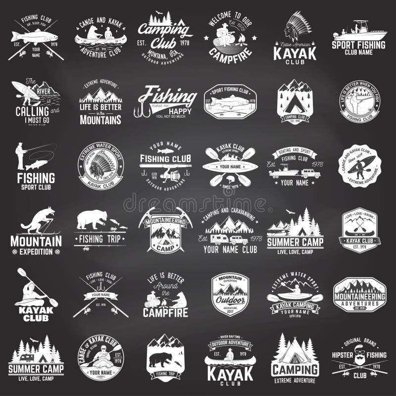 Комплект каное, каяка, рыбной ловли и располагаясь лагерем значка клуба иллюстрация штока