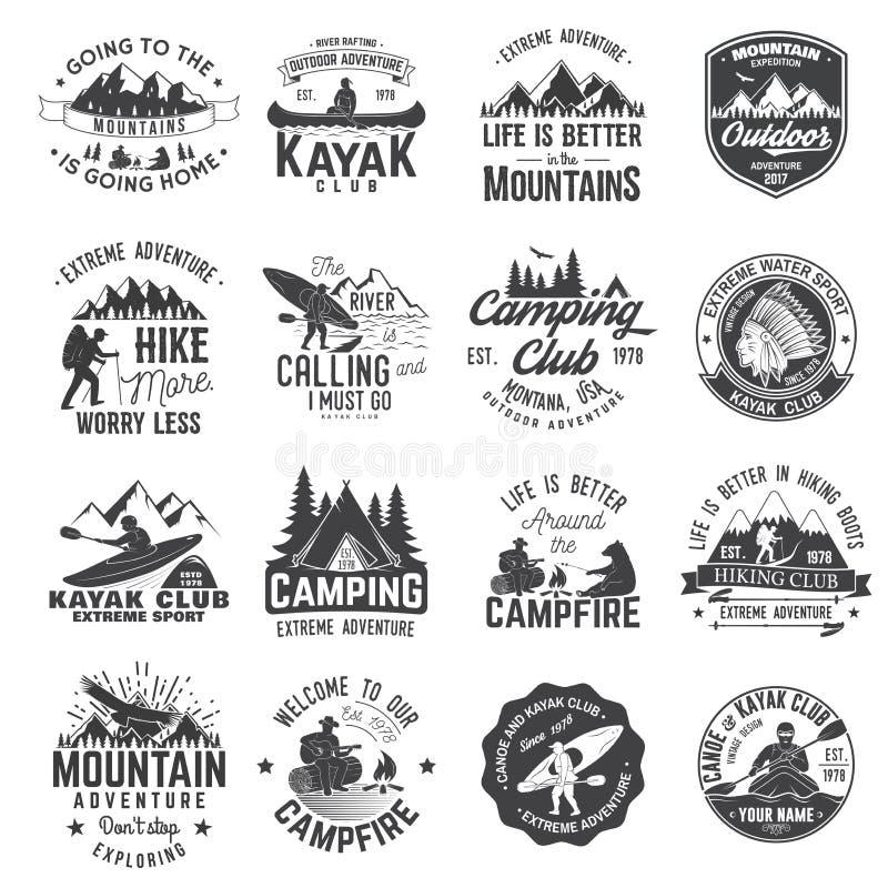 Комплект каное, пешего туризма, каяка и располагаясь лагерем значка клуба иллюстрация штока