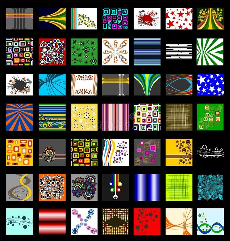комплект картины предпосылки ретро типичный иллюстрация вектора