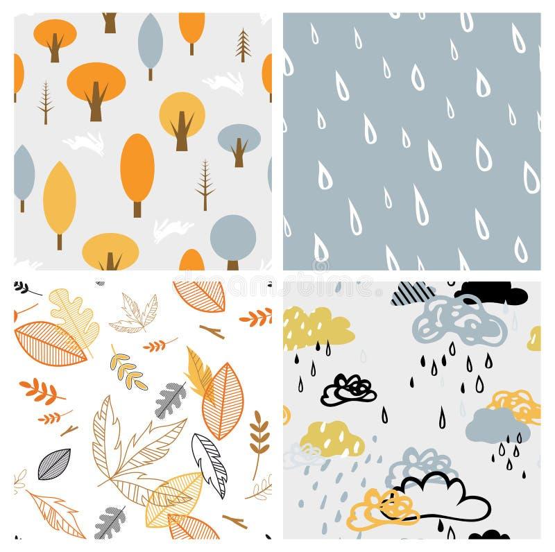Комплект картины стиля осени сезонный безшовный ретро Улучшите для обоев, бумаги подарка, заполнений картины, предпосылки интерне иллюстрация вектора