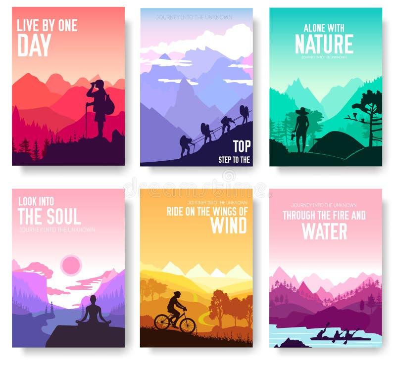 Комплект карточек брошюры вектора дня отдыха спорта Туризм на шаблоне flyear, кассетах природы, плакате, обложке книги, знамени иллюстрация вектора