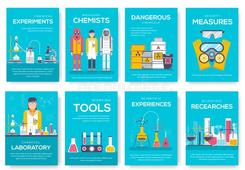 Комплект карточек брошюры химиков Biohazard шаблон flyear, кассета химической лаборатории, плакат, обложка книги, знамя наука иллюстрация штока