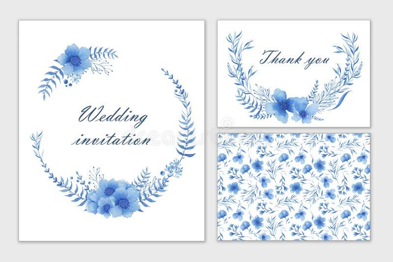 Комплект карточек свадьбы с голубыми цветками Притяжка руки акварели Приглашение, открытка иллюстрация штока