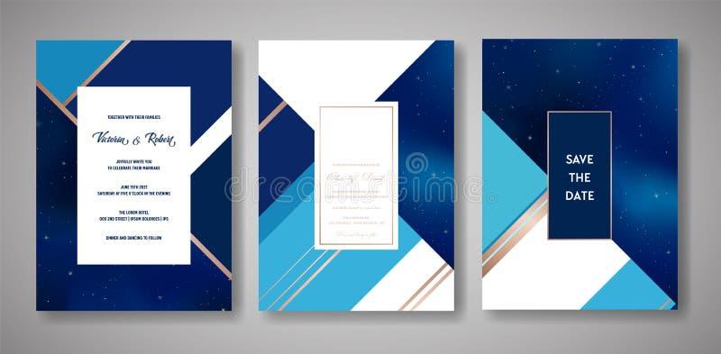 Комплект карточки приглашения свадьбы неба звездной ночи ультрамодный, сохраняет шаблон даты небесный галактики, космоса, звезд иллюстрация вектора