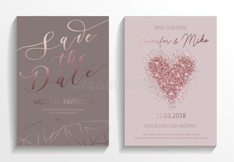 Комплект карточки приглашения свадьбы Шаблон современного дизайна с розой идет иллюстрация вектора
