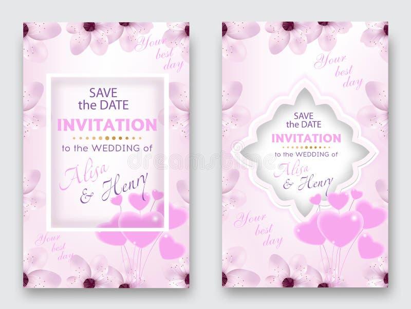 Комплект карточки свадьбы Декоративный дизайн поздравительной открытки или приглашения с сердцами вишни или цветка и воздушного ш иллюстрация штока